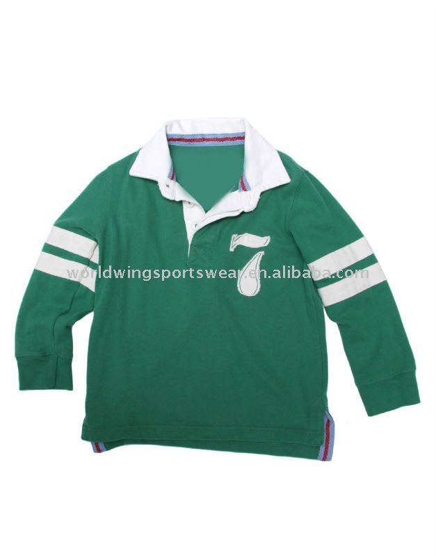 Children cotton emerlad long sleeve rugby shirt