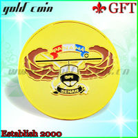 New lead free round shiny gold challenge coin