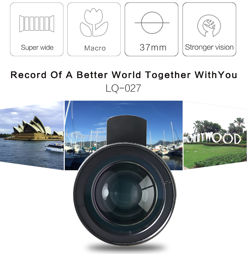 Lieqi high quality digital optics 2 in 1 mobile phone camera macro lens super 0.45x wide angle lens