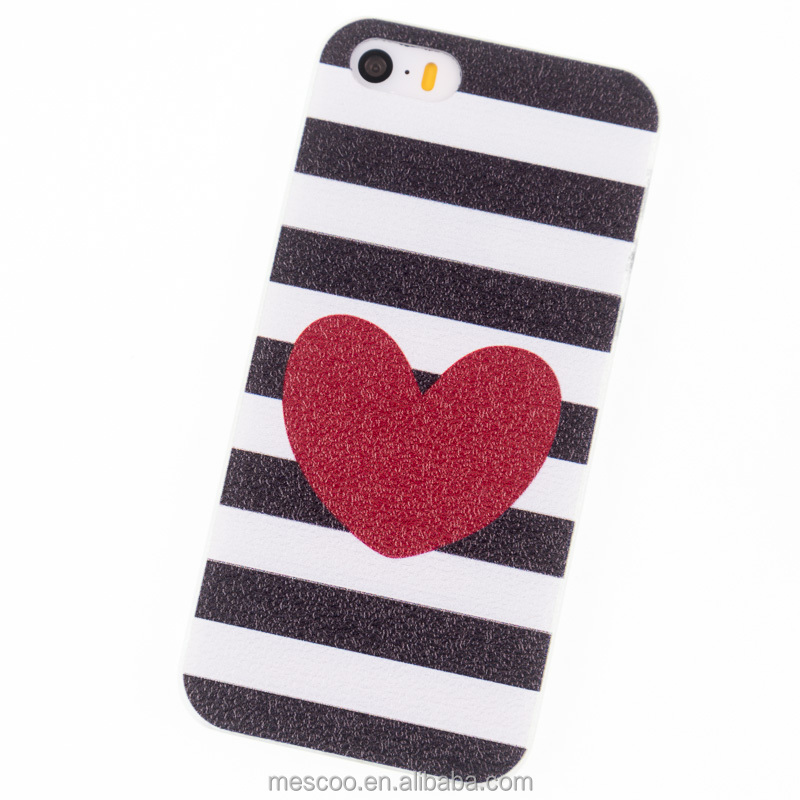 Phone Cases for iPhone 5S Case i5 SE Housing Red hearts Stripe Cover mobile phone bags & cases Brand New Glass Screen Protector