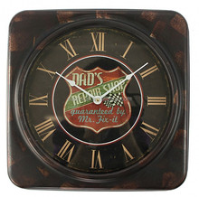 DAD'S REPAIR SHOP iron square wooden wall clock
