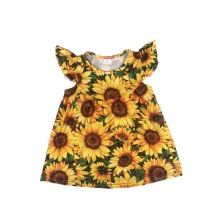 Latest design summer boutique casual <strong>girl's</strong> sunflower printing <strong>dress</strong>