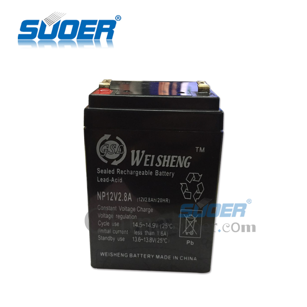 Suoer 2.8Ah Rechargeable Lead Acid Storage Battery 12V Battery for Solar System