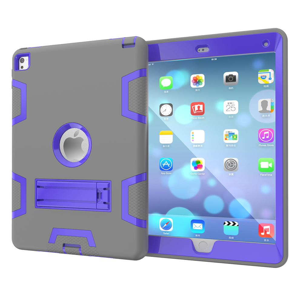 2 colors hybrid shockproof case with stand 3 in 1case for ipad air 2 case