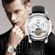 Day Date Display Analog Watch,Leather Wrist Men Automatic Mechanical Watch