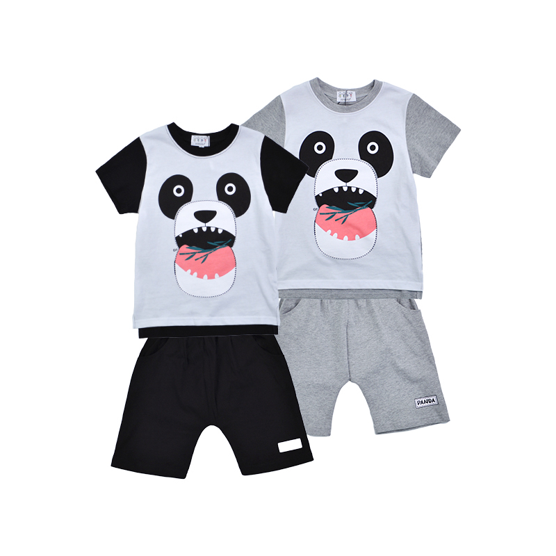 Wholesale top quality 100% cotton children wear panda summer kids garments