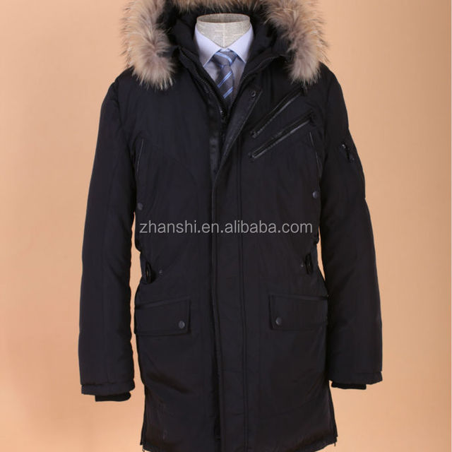 Custom long Parka mens winter coat with fur collar