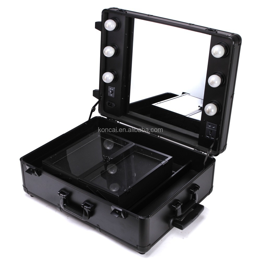 Professional Makeup Trolley Luggage Case Lighted Professinal Makeup Cases,Make Up Case With ...