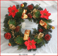 Green pine needld Christmas flower wreath for christmas tree decoration