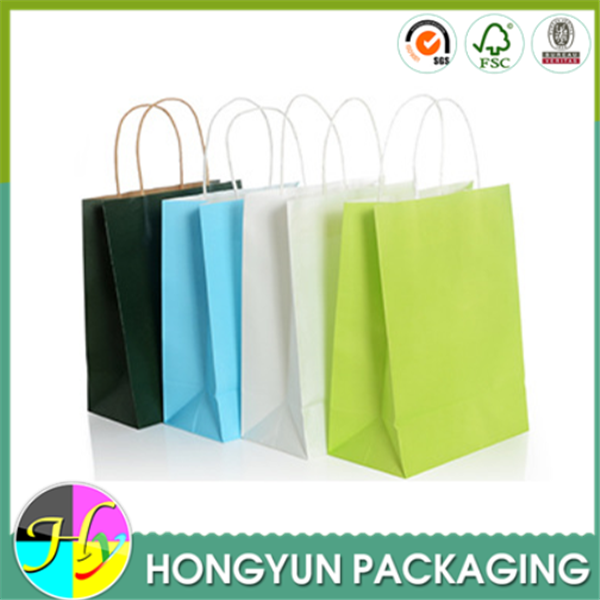 Custom different colors handmade paper bag with carry handle