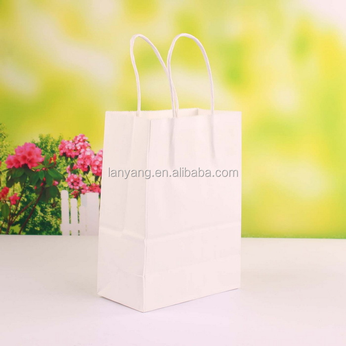 White Small Kraft Paper Gift Handle Bags Shopping bag Paper Gift Bag paper bag