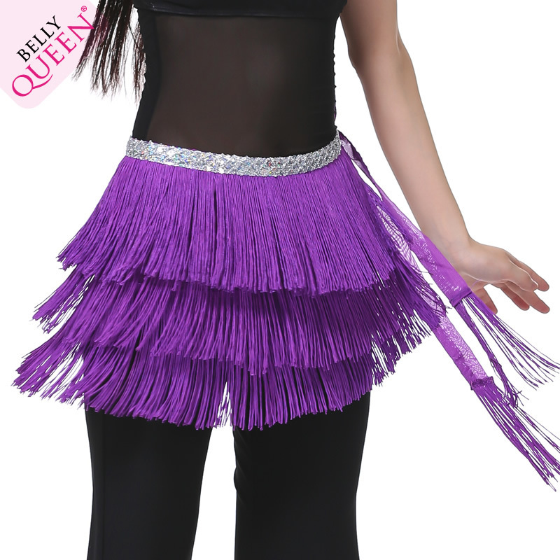 Pure Color Three Layers Tassels Belly Dancing Performance Show Hip Scarf Waist Decorations