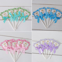 Birthday cake decoration fan-shaped card inserted flag birthday party dress up bow creative card dessert 5 / package