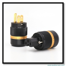 OEM Pure copper 24 K Gold Plated US male Power Plug adapter +female IEC Connector for HIFI DIY Power cable