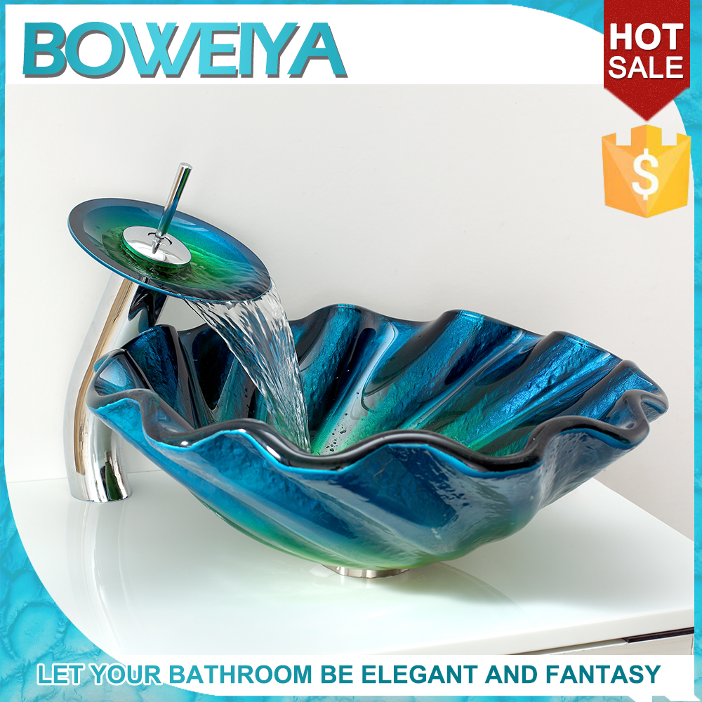 Mediterranean Bathroom Design Shell Shaped Unbreakable Glass Basin Vessel Sink