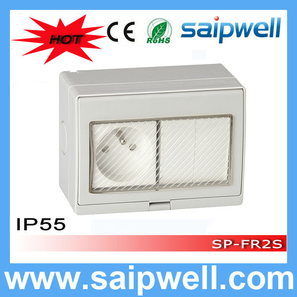 Saipwell High Quality waterproof IP55 2 Gang switch with double control for French