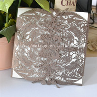 2017 unique wedding paper flowers laser cut Invitations cards for wedding , china wholesale blank wedding invitation