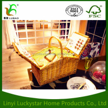 2 Person Wicker Picnic Basket Hamper Set with Flatware, Plates and Wine Glasses Includes Blue Checked Pattern Lining