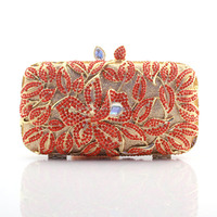 2015 Wholesale Exquisite Women Hard Shell Crystal Stone Clutch Bag