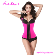 Wholesale Pink Slimming Corset Latex Waist Cincher With Zipper