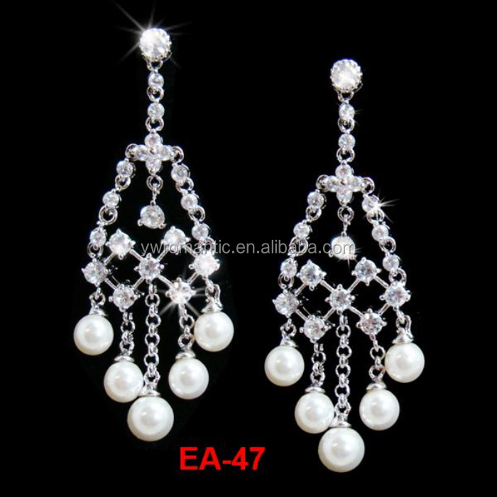 factory wholesale dangle crystal silver earring