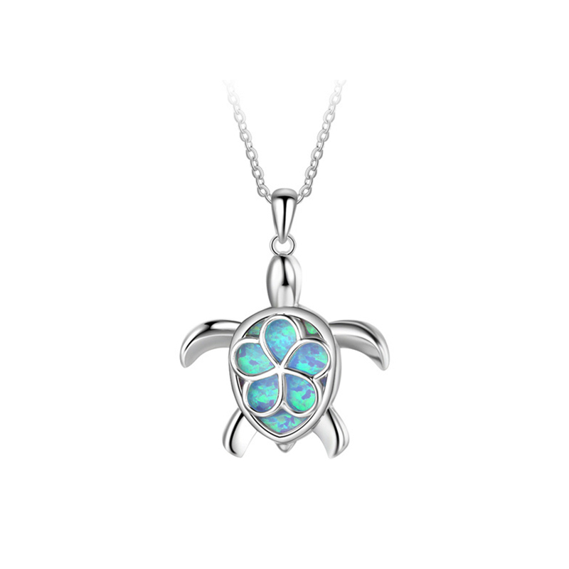 OPP022 Cute Tortoise design pendant silver opal pendant <strong>necklace</strong>