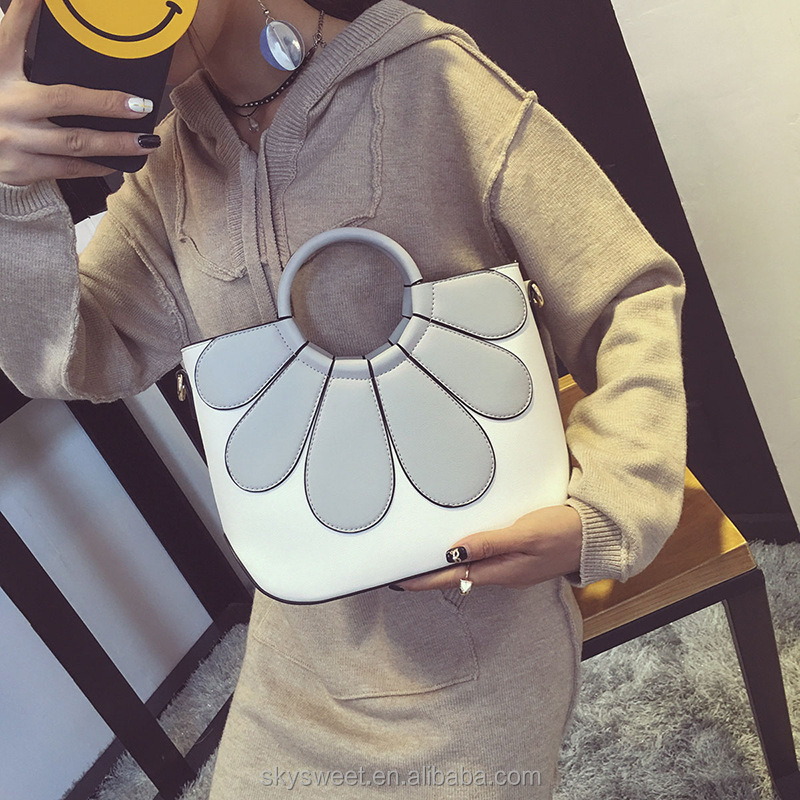 Flowers shape female handbags leather purses and handbags 2016(SWTJU4035)