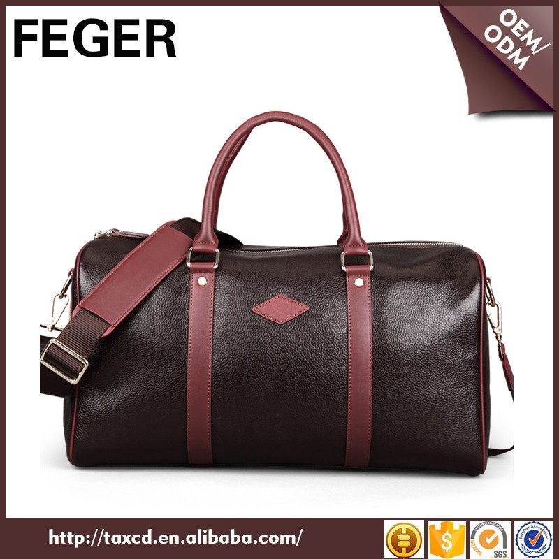 Top Quality Brand 100% Genuine Leather Business Travel Bag For Men