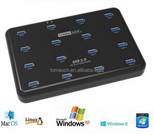 16 Port USB 3.0 Hub with Power Adapter for fast Transfer Data and Charging