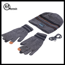 Morewin Brand Sports Winter Bluetooth Stereo Headphone Music Warm Beanie Hat With Gloves Hot Selling