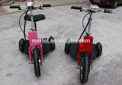 CE/ROHS/FCC 3 wheeled 3 wheel folding kick scooter for hot selling with removable handicapped seat