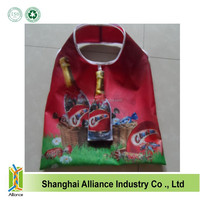 Heat transfer allover full color printing beer bottle shape foldable shopping bag ALD1153