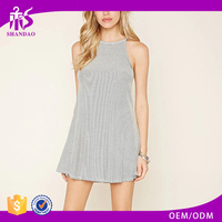 2016 shandao new fashion design summer plain dyed cotton stripe sleeveless made to measure dresses from china