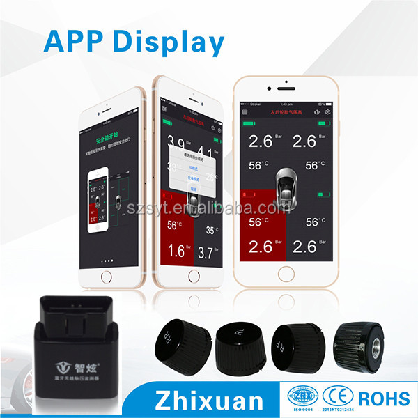 bluetooth smartphone tpms with OBD receiver, tire pressure monitoring system for android phone