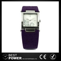 violet leather quartz alloy case back watch