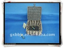 Brown square paper rope woven iron frame costume storage box