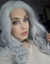 grey women hair wig heat resistant wavy synthetic hair lace front wig
