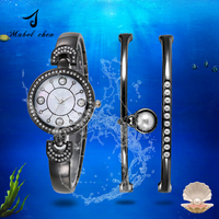 Pearl Diamonds Women Wrist Bracelet Lady Quartz Watch 2017 New Arrival Factory OEM Gift Wristwatches Luxury 3 Sets