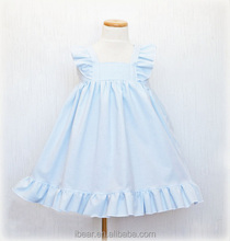 2016 new arrival kids old fashioned dress kids boutique dress girl dress with solid color blue yellow pink