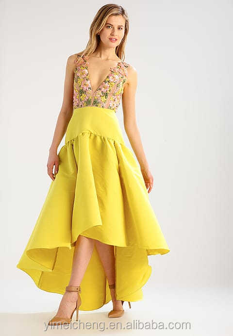 Appliqued Glamorous yellow elegant tailor lady dresses pictures of latest gowns designs