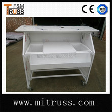 Hot aluminum portable snack bar table with wheels for sale