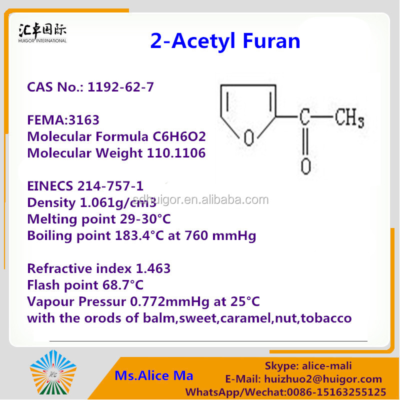 Daily Flavor Usage and Synthetic Flavour & Fragrance Type 2-Acetylfuran CAS: 1192-62-7