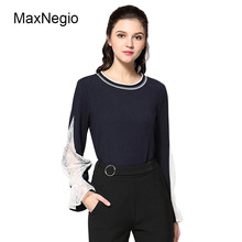 Maxnegio Large Size Ladies Tops Spring New Flounce Sleeve Long Lace Blouse For Fat Women