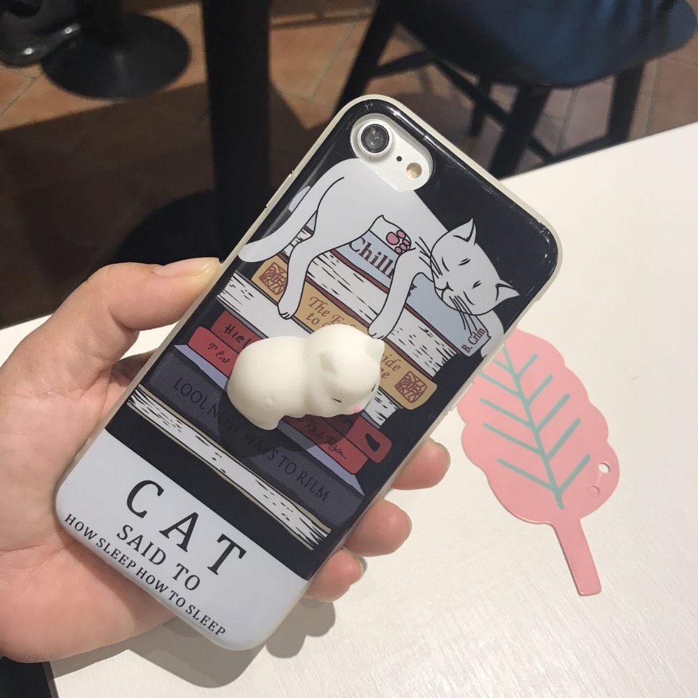 New approved 3D TPU soft squishy cat case for cell phone iphone 7