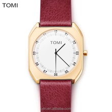2017 popular new arrival square case leather TOMI Brand business unisex wrist watch