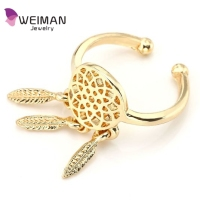 Women Hippie Silver Gold Plated Tassel Dangle Good Luck Dream Catcher Feather Ring