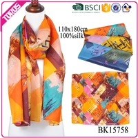 TOROS OEM twill woman silk patchwork scarf