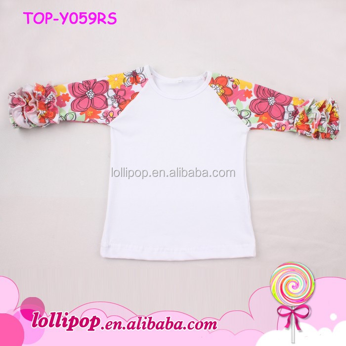 Latest New Model Shirts 3/4 Sleeves Baby Girl Floral Ruffle Raglan Shirt/Kids Icing Raglan Shirt
