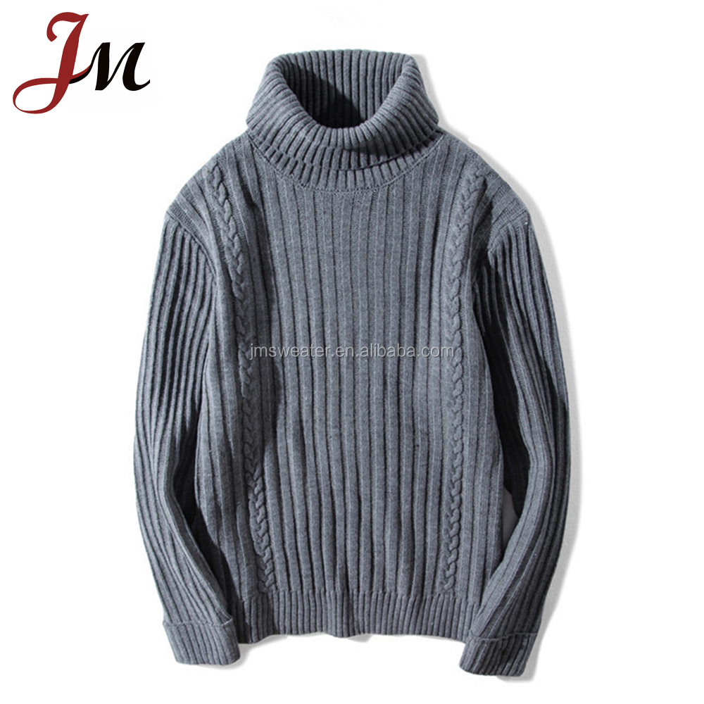 Merino wool winter men sweater turtleneck middle men clothing made in Guangzhou