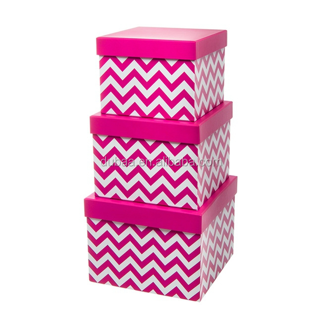 Gift Box Chevron Square S/M/L Gold/Silver/Hot Pink